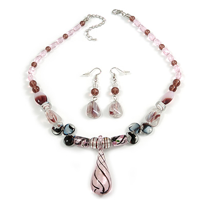 Romantic Pink Teardrop Pendant & Earrings Glass Fashion Set