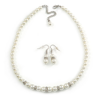 White Classic Simulated Glass Pearl Necklace & Drop Earring Set - main view