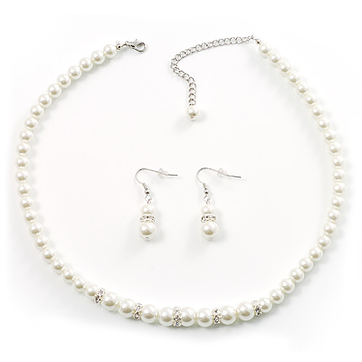 White Classic Simulated Glass Pearl Necklace & Drop Earring Set