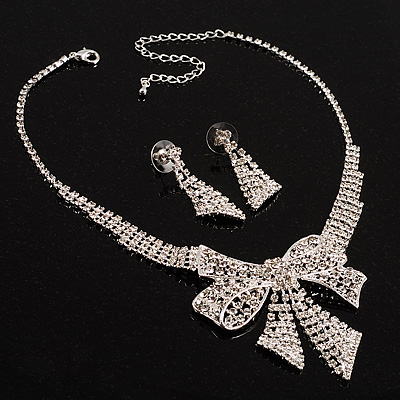 Clear Crystal Bow Necklace And Earring Set