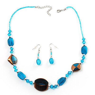 Blue Glass Bead Necklace And Drop Earrings Set