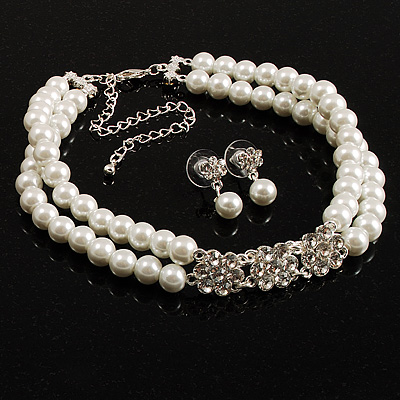 Imitation Pearl Crystal Floral Choker And Earring Set (Snow White&Clear) - main view
