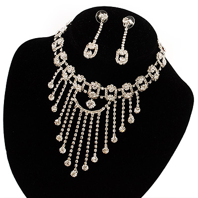 Treasured Heirloom Bib Necklace And Drop Earring Set (Silver Tone)