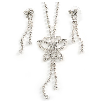 Clear Swarovski Crystal Butterfly Necklace And Earring Set (Silver Tone)