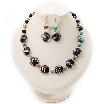 Black Glass & Semiprecious Bead Necklace & Earring Set