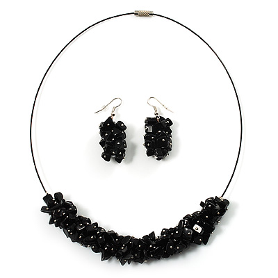 Black Nugget Cluster Choker And Drop Earrings Set (Black Tone) - main view