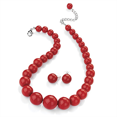 Hot Red Acrylic Bead Choker Necklace And Stud Earring Set Silver Tone 34cm