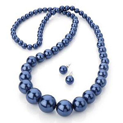 0a0d96973 Long Glass Imitation Pearl Necklace And Stud Earrings Set (Navy Blue) -82cm  Length