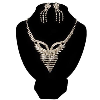 Swarovski Crystal Modern Appeal Bib Necklace and Earrings Set (Silver Tone)