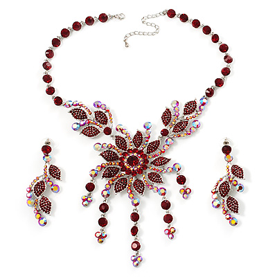 Luxury Ruby Red Coloured Swarovski Floral Necklace & Earrings Set (Silver Tone)