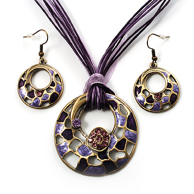 Purple Open-Cut Disk Enamel Organza Cord Necklace & Drop Earrings Set (Bronze Tone) - main view