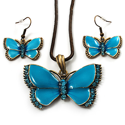 Light Blue Enamel Butterfly Necklace & Drop Earrings Set (Bronze Tone)