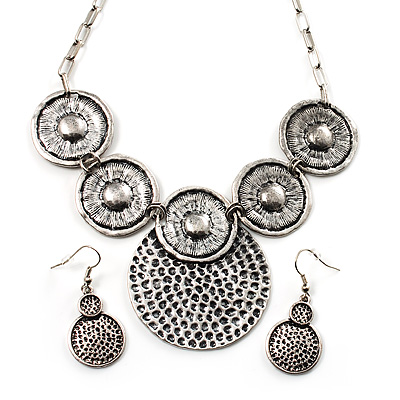 Antique Silver Textured Disc Necklace & Drop Earrings Set