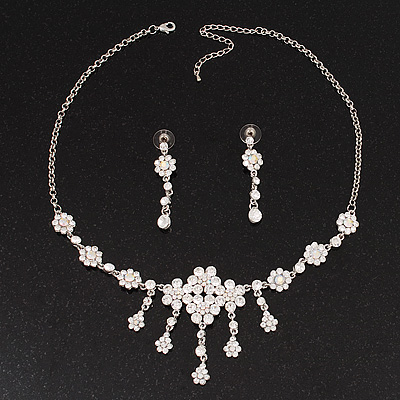 Bridal Swarovski AB/Clear Crystal Floral Necklace & Earrings Set In Rhodium Plated Metal - main view