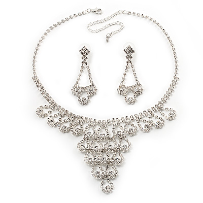 Bridal Swarovski Crystal Bib Necklace And Drop Earring Set In Rhodium Plated Metal - main view