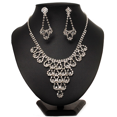 Bridal Swarovski Crystal Bib Necklace And Drop Earring Set In Rhodium Plated Metal