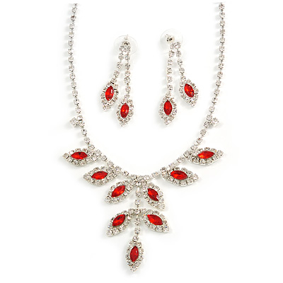 Bridal Red/Clear Diamante Floral Necklace & Earrings Set In Silver Plating - main view