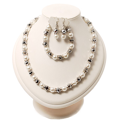 White Imitation Pearl Bead With Diamante Ring Necklace, Bracelet & Earrings Set (Silver Tone Metal)