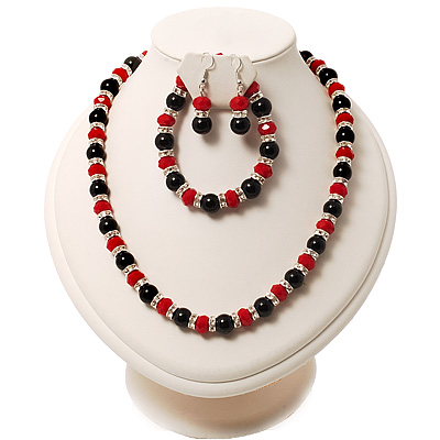 Black & Red Bead With Diamante Ring Necklace, Bracelet & Earrings Set (Silver Tone Metal)