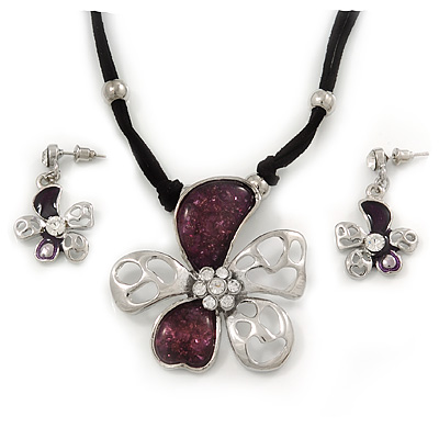 Purple Enamel Daisy Pendant Necklace & Drop Earrings Set On Suede Cord - 34cm Length (7cm extender)