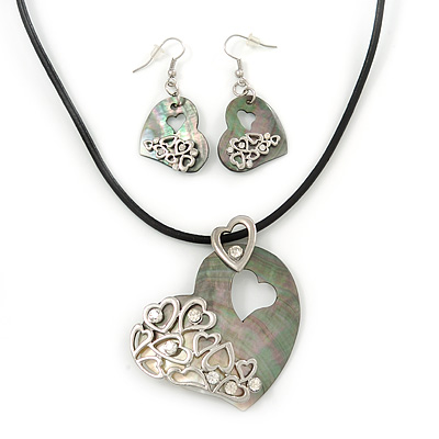 Mother of Pearl 'Heart' Pendant Necklace On Leather Cord & Drop Earrings Set - 36cm Length (5cm extender)