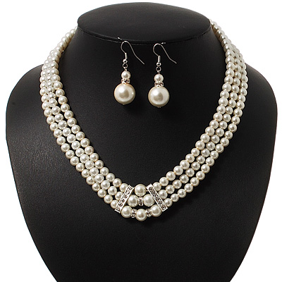 3-Strand Simulated Glass Pearl Necklace & Drop Earrings Set In Silver Plated Metal - 45cm L