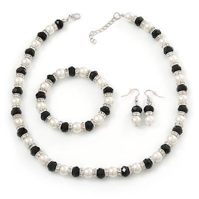 e64b77d32 White Imitation Pearl & Black Glass Bead With Diamante Ring Necklace,  Bracelet & Earrings Set