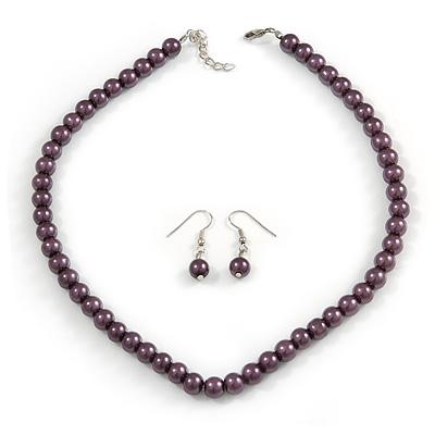 Purple Glass Bead Necklace & Drop Earring Set In Silver Metal - 38cm Length/ 4cm Extension