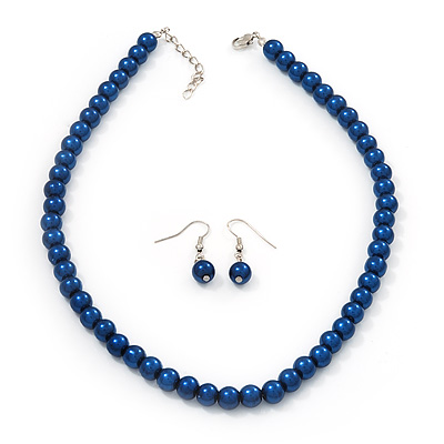 Violet Blue Glass Bead Necklace & Drop Earring Set In Silver Metal - 38cm L/ 4cm Ext