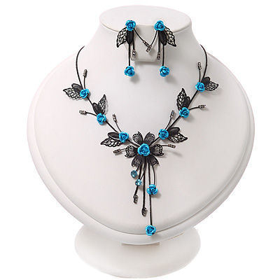 Delicate Y-Shape Blue Rose Necklace & Drop Earring Set In Black Metal