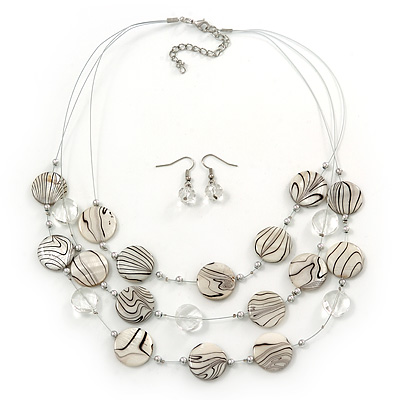 3 Strand White/Black, Transparent Shell & Bead Wire Necklace & Drop Earrings Set In Silver Plating
