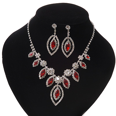 Red Clear Swarovski Crystal 'Leaf' Necklace And Drop Earring Set In Silver Plated Metal - main view