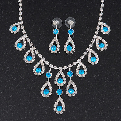 Bridal Teal/Clear Diamante 'Teardrop' Necklace & Earrings Set In Silver Plating - main view
