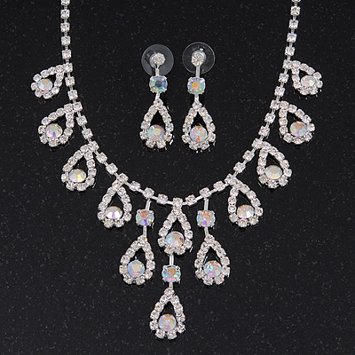 Bridal AB/Clear Diamante 'Teardrop' Necklace & Earrings Set In Silver Plating