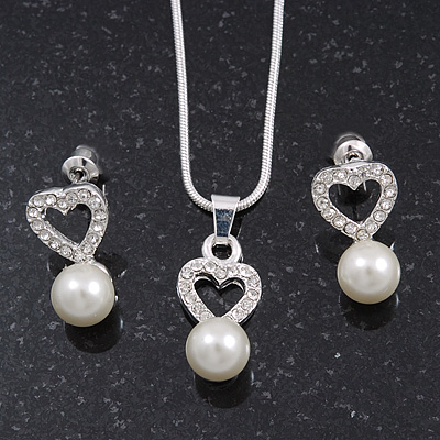 Delicate Faux Pearl Diamante 'Heart' Pendant Necklace & Stud Earrings Set In Silver Plating - main view