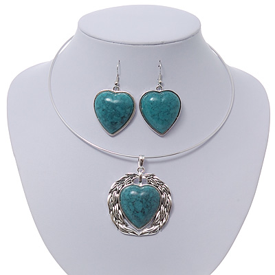 Teal Green 'Heart' Pendant Flex Wire Necklace & Drop Earrings In Silver Plating - Adjustable - main view