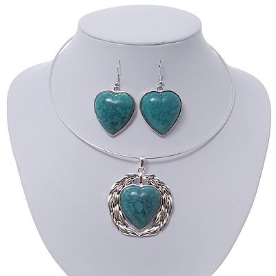 Teal Green 'Heart' Pendant Flex Wire Necklace & Drop Earrings In Silver Plating - Adjustable