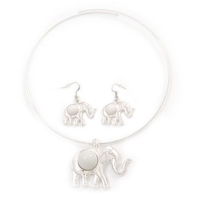 Silver Plated Flex Wire 'Elephant' Pendant Necklace & Drop Earrings Set With White Stone - Adjustable - main view