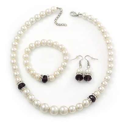 White Simulated Glass Pearl Necklace, Flex Bracelet & Drop Earrings Set With Diamante Rings & Purple Beads - 38cm Length - main view