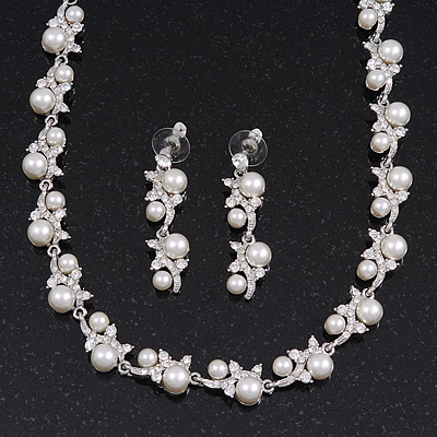Bridal Simulated Pearl/Crystal Necklace & Drop Earring Set In Silver Metal - 44cm Length/5cm Extension