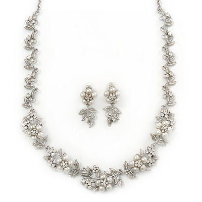 Bridal 'Flower' Simulated Pearl/Crystal Necklace & Drop Earring Set In Silver Metal - 46cm Length/6cm Extension)