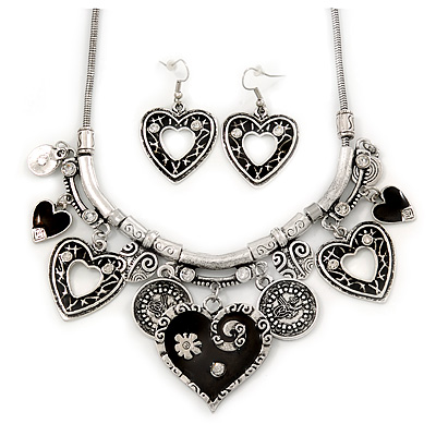 Burn Silver Hammered Charm ' Black Heart' Necklace & Drop Earrings Set - 38cm Length/6cm Extension