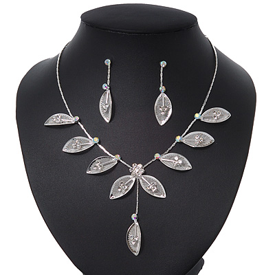 Delicate Bridal Diamante Floral Mesh 'Y'-Necklace & Drop Earrings Set In Silver Plating - 40cm Length/ 4cm Extension