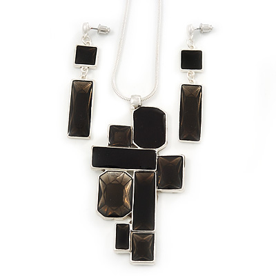 Midnight Black 'Summer Shapes' Necklace & Drop Earrings Set In Matte Silver Plating - 40cm Length/ 7cm Extension