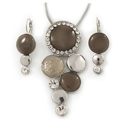 Rhodium Plated Light Grey Enamel, Crystal 'Multi Circle' Pendant & Drop Earrings Set - 38cm Length/ 5cm Extension - main view