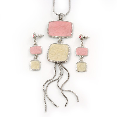 Pale Pink/ Cream Enamel Square Tassel Pendant & Drop Earrings Set In Rhodium Plating - 38cm Length/ 5cm Extension
