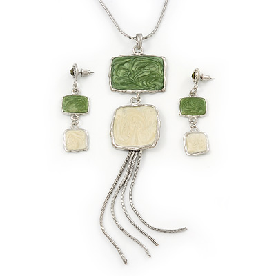Light Green/ Cream Enamel Square Tassel Pendant & Drop Earrings Set In Rhodium Plating - 38cm Length/ 5cm Extension