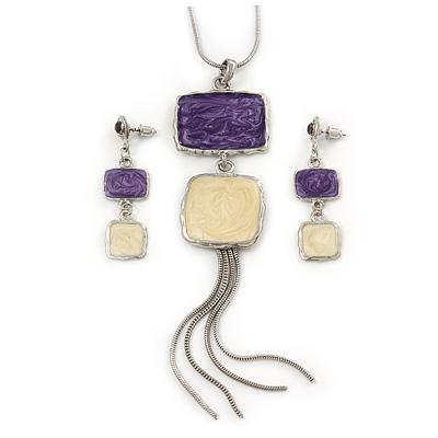 Purple/ Cream Enamel Square Tassel Pendant & Drop Earrings Set In Rhodium Plating - 38cm Length/ 5cm Extension