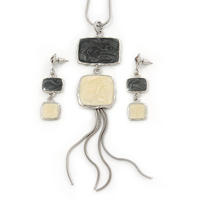 Grey/ Cream Enamel Square Tassel Pendant & Drop Earrings Set In Rhodium Plating - 38cm Length/ 5cm Extension - main view
