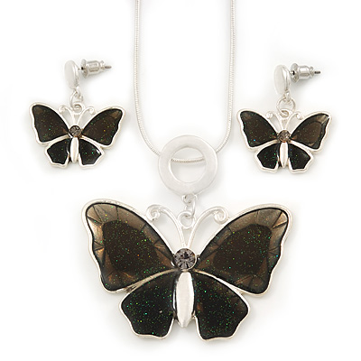 Grey Glass 'Butterfly' Necklace & Drop Earrings Set In Silver Tone - 38cm Length/ 5cm Extension